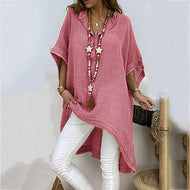 Casual V Neck  Pure Colour Batwing Sleeve Dress