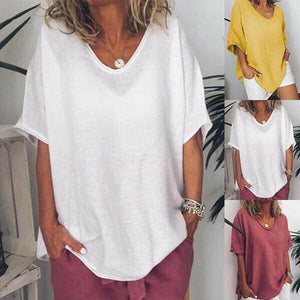 Solid Color Loose Short Sleeve Casual Cotton T-Shirt