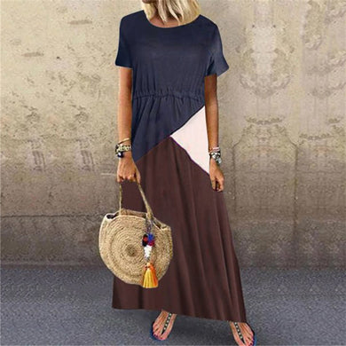 Fashion Contrast Stitching Round Neck Short Sleeve Casual Dresses