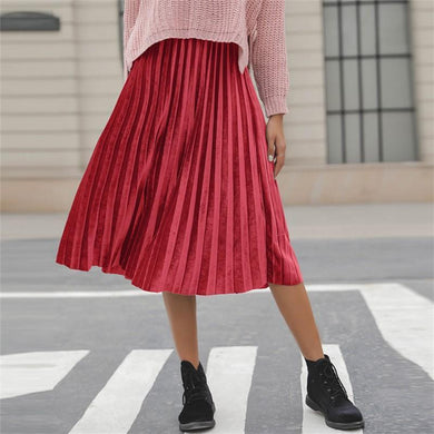Casual Pure color corduroy medium length pleated skirt