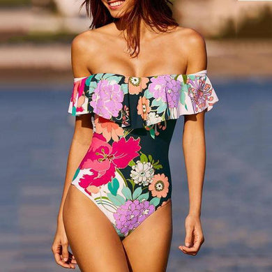 One-Shoulder Ruffled One-Piece Sexy Swimsuit