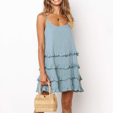 Temperate Ruffled Tie U-Neck Solid Color Dress