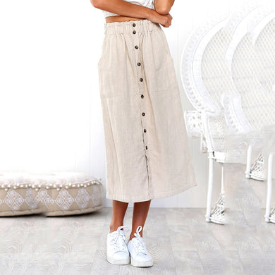 Solid Color A-Line Single-Breasted High Waist Skirt