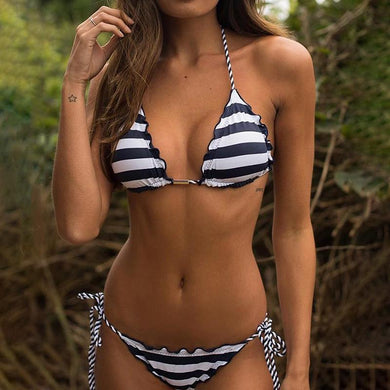 Halter  Decorative Hardware  Tribal Printed Bikini