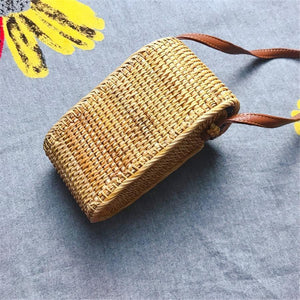 Handmade rattan PU leather buckle crossbody bag