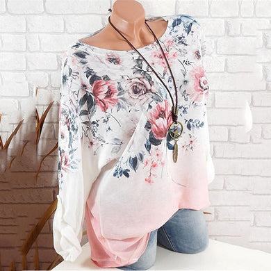 Round Neck Flower Print Gradient Long Sleeve blouse