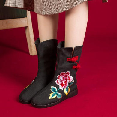 Fashion Wild   Embroidery Plush High Boots