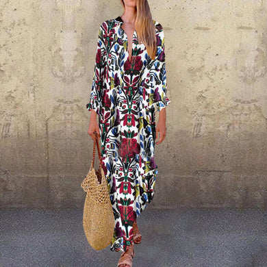 Linen Printed Deep V Long Sleeve Maxi  Dresses