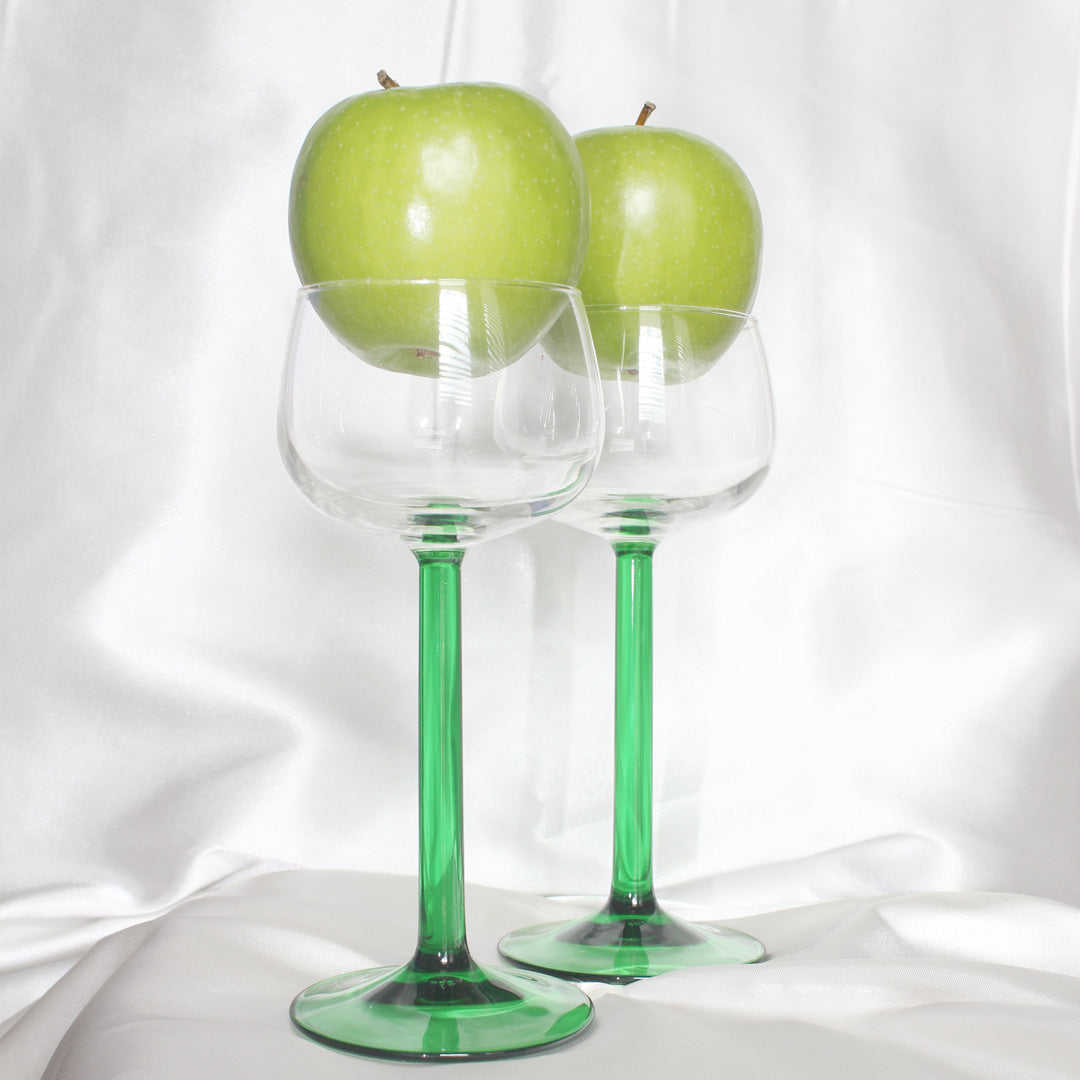 Emerald Stem Crystal Wine Glasses | Vintage Barware | Mass Over Matter