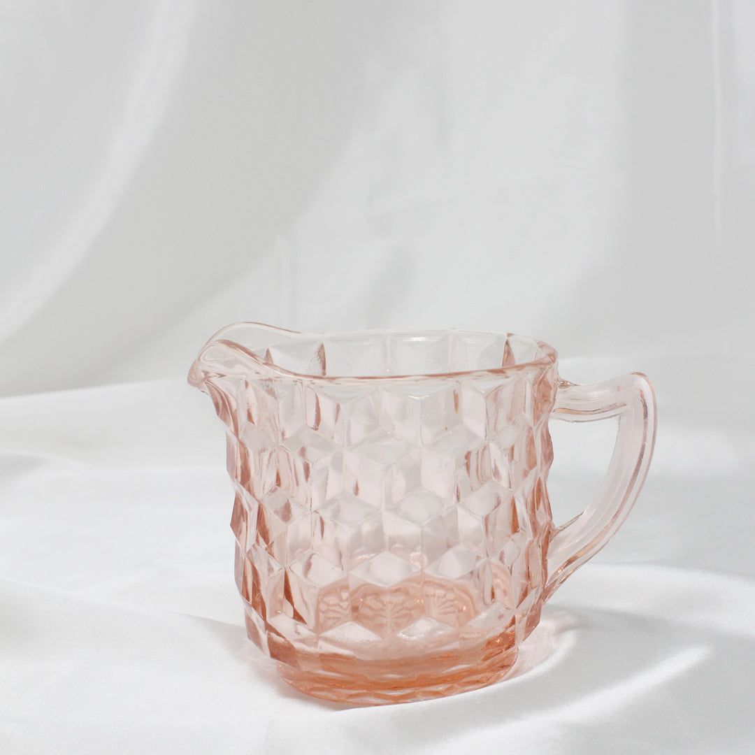 Cubist Pink Depression Glass Cream & Sugar Set