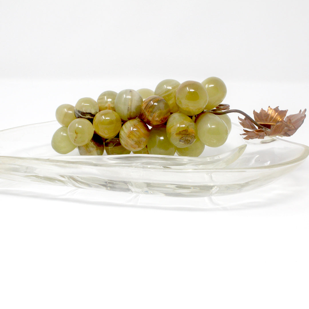 Vintage Leaf Shaped Glass Dish