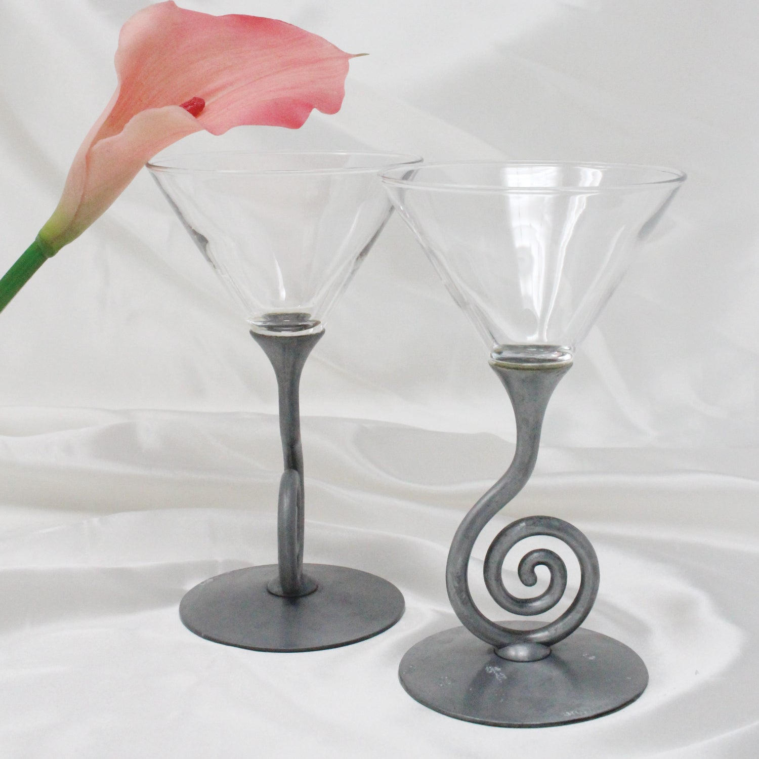 Vintage ULLA DARNI Spiral Stem Martini Glasses | Mass Over Matter