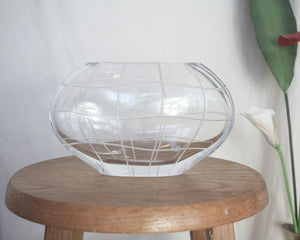 Etched Grid Glass Vase