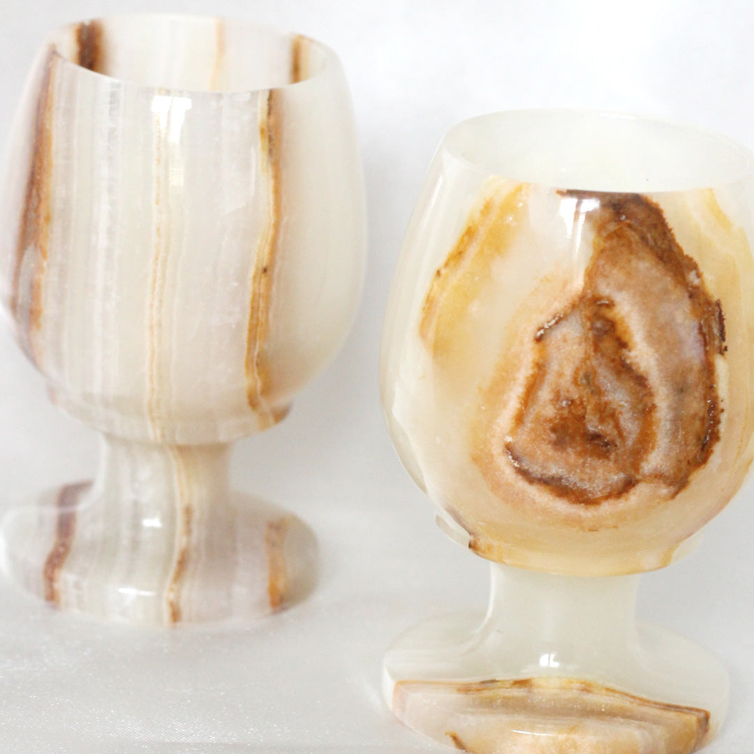 Onyx Goblet Cup Set | Vintage Barware | Mass Over Matter