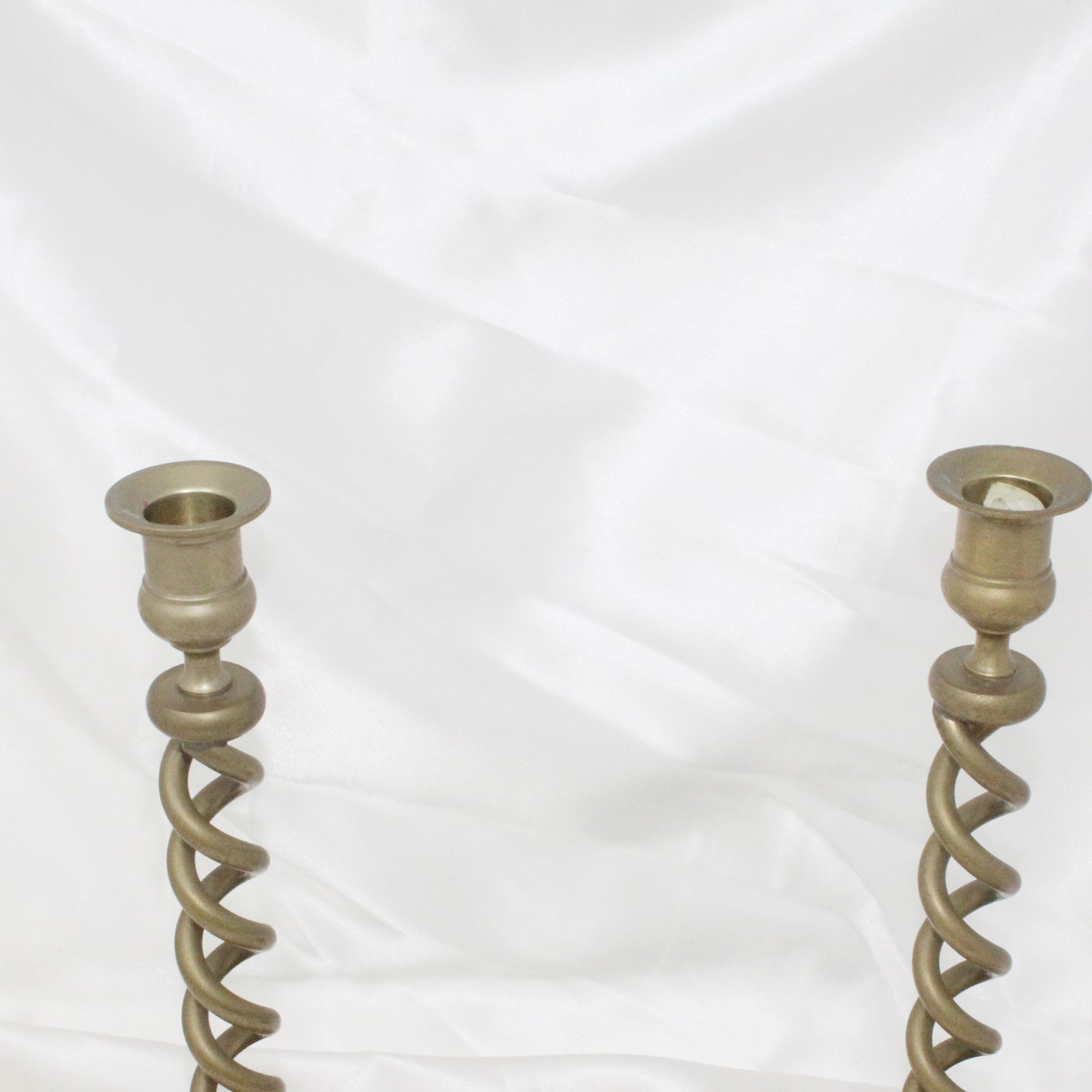 Vintage Pair Of Brass Twisted Spiral Candle Holders | Mass Over Matter