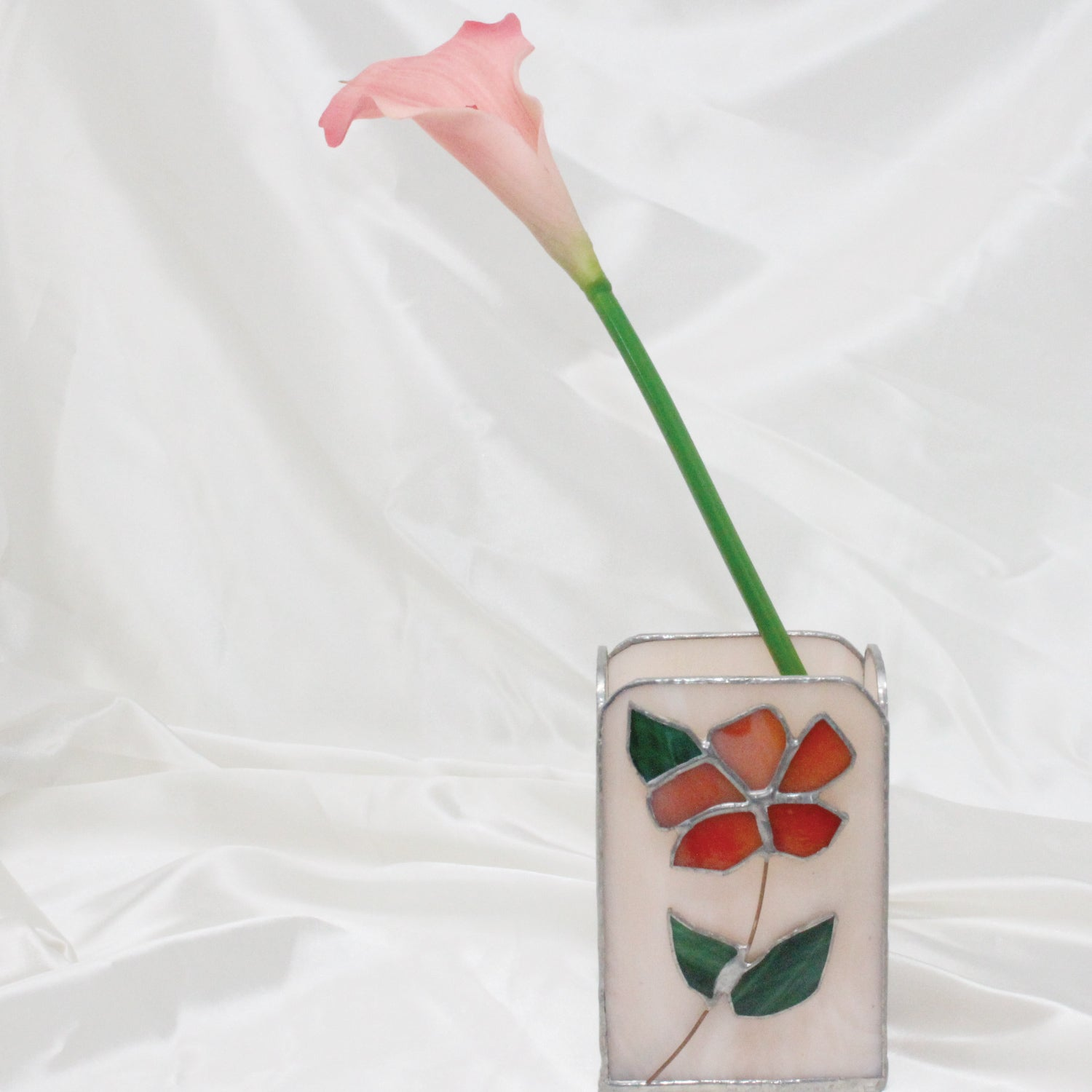 Vintage Pink Stained Glass Flower Vase | Mass Over Matter