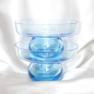 Blue Glass Shallow Vase Set | Vintage Home Decor | Mass Over Matter