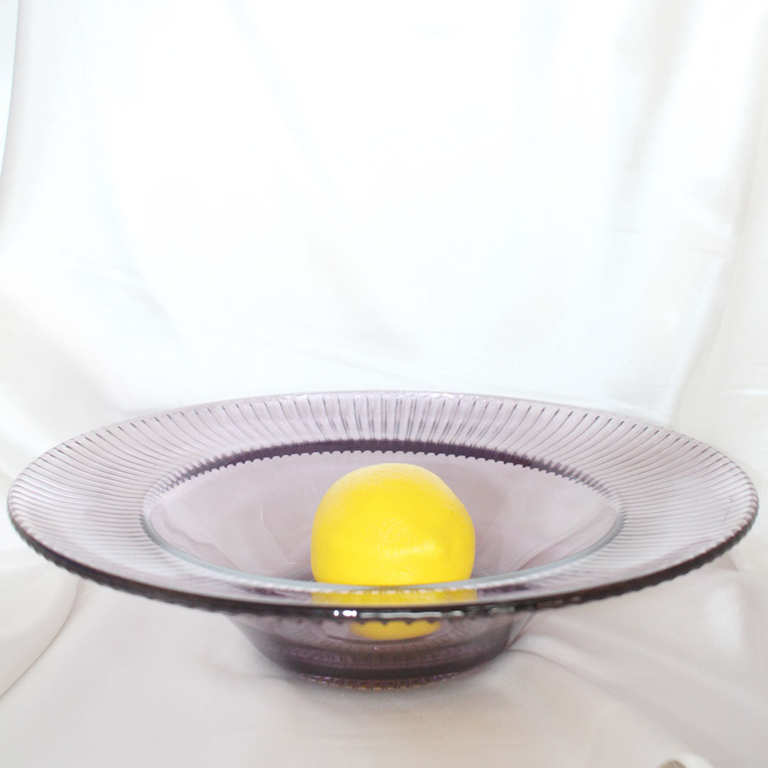Purple Ribbed Fruit Bowl | Vintage Home Decor | Mass Over Matter