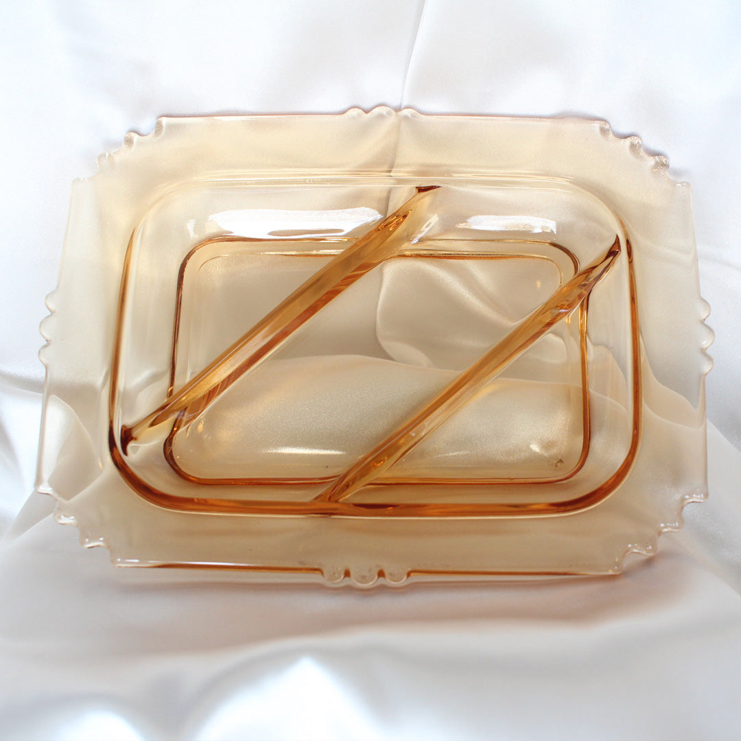 Amber Divided Catchall | Vintage Home Decor | Mass Over Matter