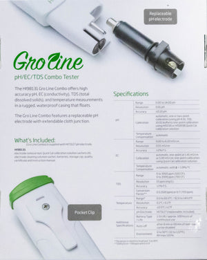 GroLine Hydroponic Waterproof Pocket pH/EC/TDS/Temperature Tester - USA only