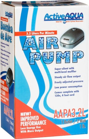 Active Aqua Air Pump, 1 Outlet, 2W, 3.2 L/min