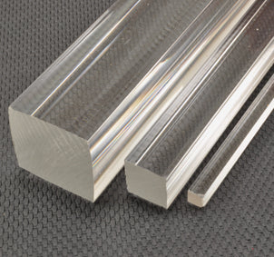"Rod Square 5/8""x 5/8"" x 6' (16mm x 16mm x 1830mm)Extruded Clear Acrylic"