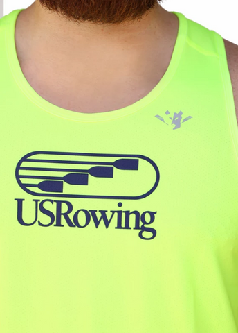 USRowing Hi-Viz JL Racing Rowing Tank Top Performance Wear Mens