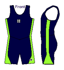 Women's Simple Segue Unisuit Navy Blue and Lime Green - NORTH BAY ROWING CLUB JUNIORS