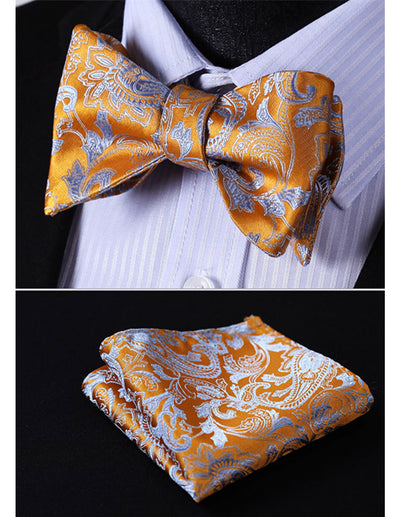 Orange, Blue Floral Silk Bow Tie Set