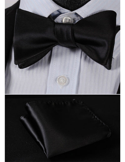 Solid Black Jacquard Silk Bow Tie Set