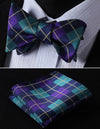 Aqua, Purple Check Silk Bow Tie Set