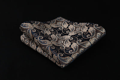 Navy Blue Gold Paisley Silk Vest Set