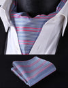 Pink, Blue Check Silk Ascot Tie Set