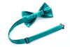 Solid Aqua Silk Suspenders Set