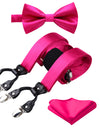 Solid Pink Silk Suspenders Set