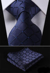 Solid Navy Blue Check XL Silk Tie