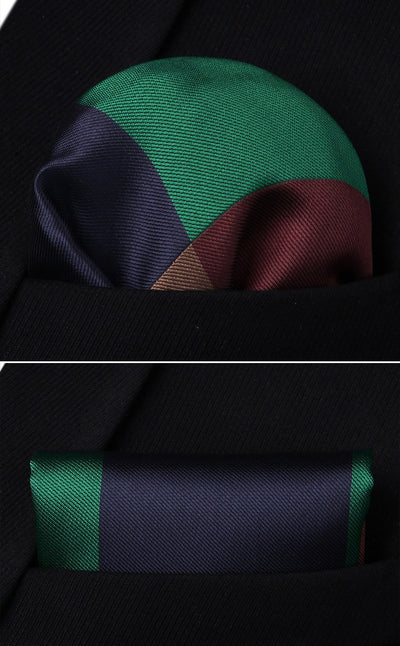 Navy Blue Green Brown Check Standard Length Silk Tie Set
