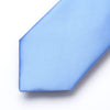 Solid Blue Standard Length Silk Tie Set