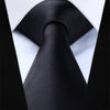 Solid Black Standard Length Silk Tie Set