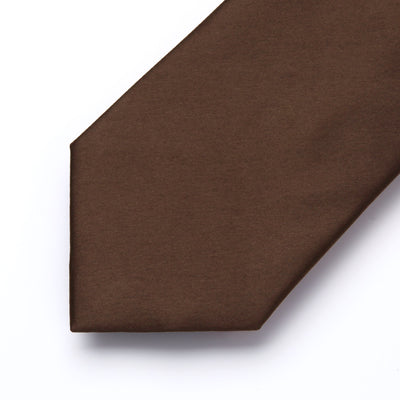 Solid Brown Standard Length Silk Tie Set