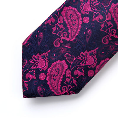 Navy Blue And Pink Paisley Standard Length Silk Tie Set