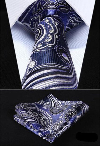 Navy Blue And White Paisley XL Silk Tie