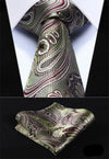 Green Burgundy Paisley XL Silk Tie