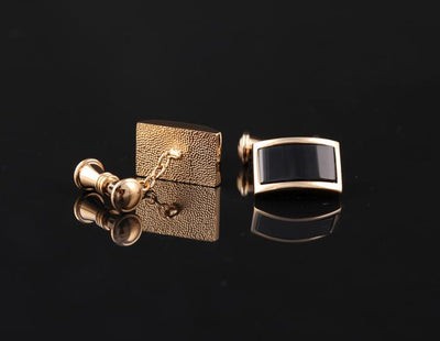 Black Gold Plated Rectangular Cufflink