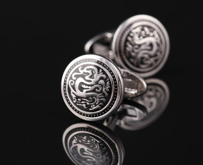 Silver Black Dragon Cufflink