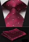 Burgundy Check And Small White Polka Dots XL Silk Tie