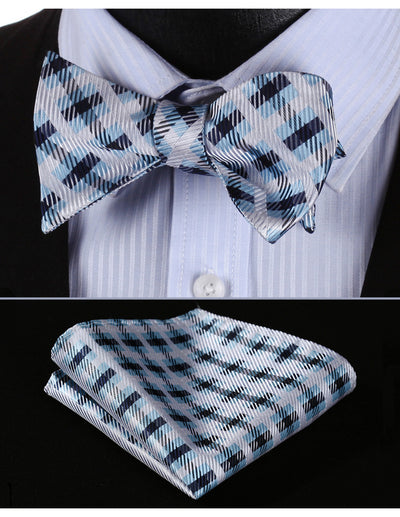 Black White Blue Jacquard Check Silk Bow Tie Set