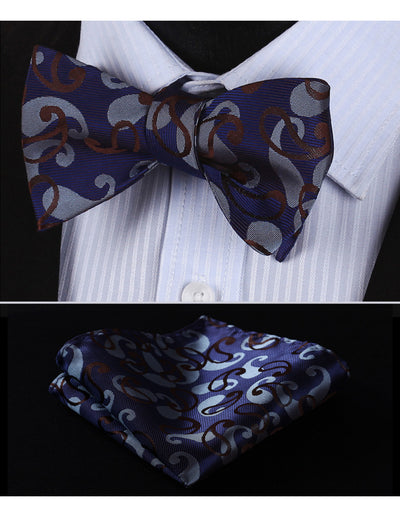 Blue, Brown Paisley Silk Bow Tie Set