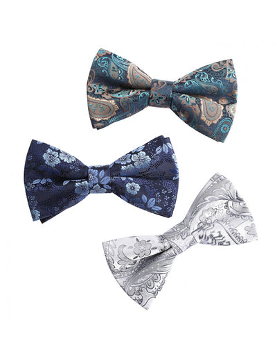 3 pieces paisley floral bow ties for men and boys