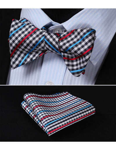 Red, Blue Check Silk Bow Tie Set